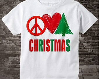 Kids Christmas Outfit - Pre Teen Christmas Gift - Christmas Clothing - Christmas Pajama Top - Christmas Shirt - Peace Love Shirt 09262011g