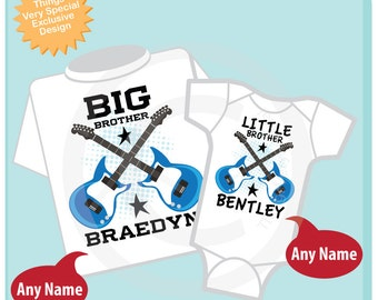 Set of Two Personalized Big Brother and Little Brother Guitar Rocker Shirt or Onesie, Infant, Toddler or Youth sizes t-shirt 03242014e