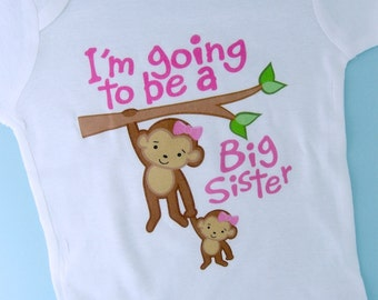I'm Going to Be A Big Sister Shirt, Big Sister Onesie, Personalized Big Sister Monkey Shirt with Little Sister Monkey TShirt (09292011a)