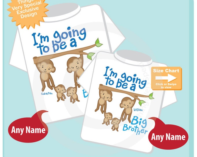 Set of Two Personalized I'm Going to be a Big Brother shirts with twin babies. Cute four monkey design has the whole family. 04162015f