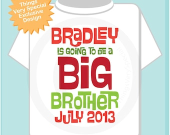 Boys Personalized Christmas Red and Green Big Brother Shirt or Onesie, Infant, Toddler or Youth with Due Date (11212012b)