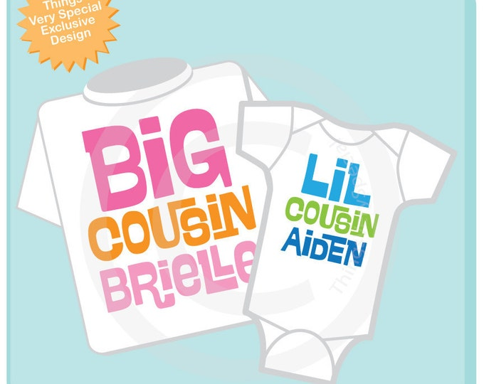 Set of 2 Big Cousin and Little Cousin Shirt Personalized Infant, Toddler or Youth Tee Shirt or Onesie Pregnancy Announcement (03042014a)