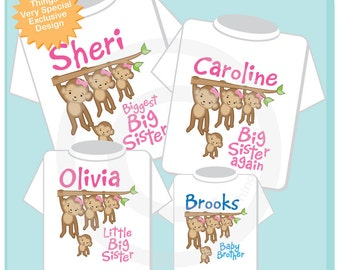 Sibling Monkey Shirt Set, Set of Four, Biggest Sister Shirt, Bigger Sister, Big Sister, and Baby Brother,  Personalized Shirt or Onesie