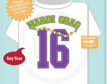 Mardi Gras 2016 Shirt or Onesie Bodysuit, Mardi Gras Shirt for Toddlers and Kids and Adults 12182014a