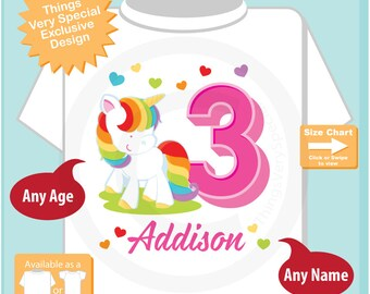 Rainbow Unicorn 3rd Birthday shirt, Any age can be done, Cotton Tee shirt personalized with name and age. 06272018a