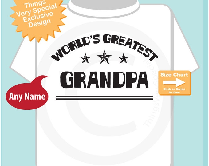 New Grandpa Gift, Personalized World's Greatest Grandpa Adult Tee shirt (07202015k)