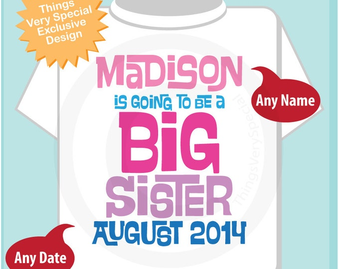 Girl's Personalized Pink and Purple Big Sister Shirt or Onesie, Infant, Toddler or Youth with Due Date and Name 04022014c
