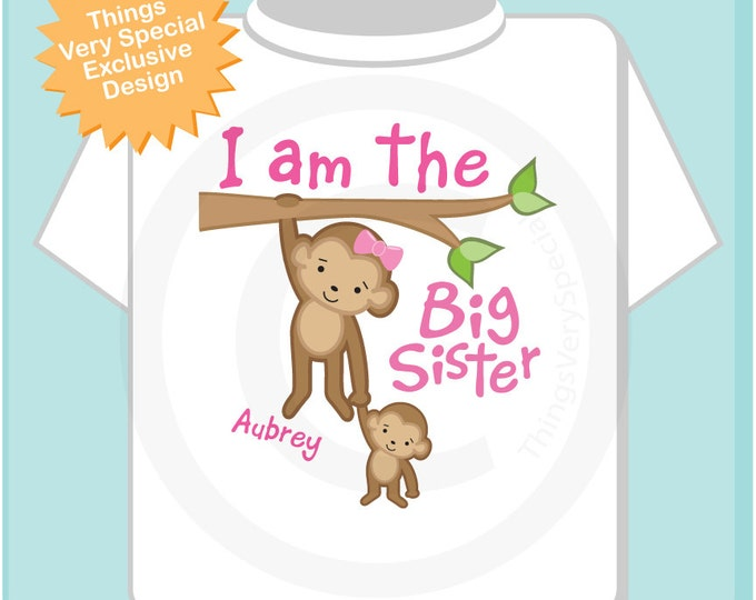 Big Sister Shirt - Big Sister Onesie, Personalized I'm the Big Sister Shirt with Monkeys, Big Sister Shirt 06182013a