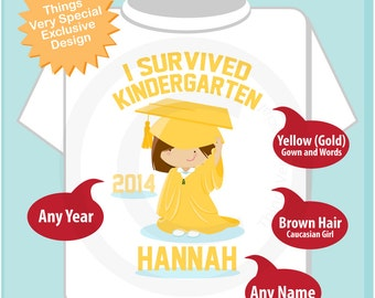 Personalized I Survived Kindergarten Shirt Kindergarten Graduate Shirt Child's Back To School Shirt 04102014f