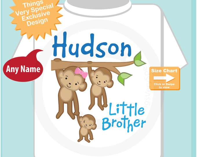 Little Brother Monkey Shirt or Onesie, Personalized Little Brother showing big sister and big brother siblings (02202012b)