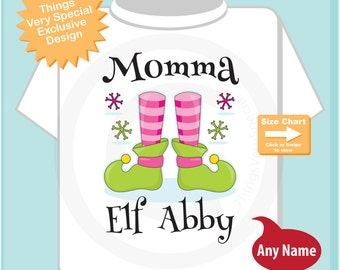 Personalized Momma Elf Adult Tee shirt (11282016f)