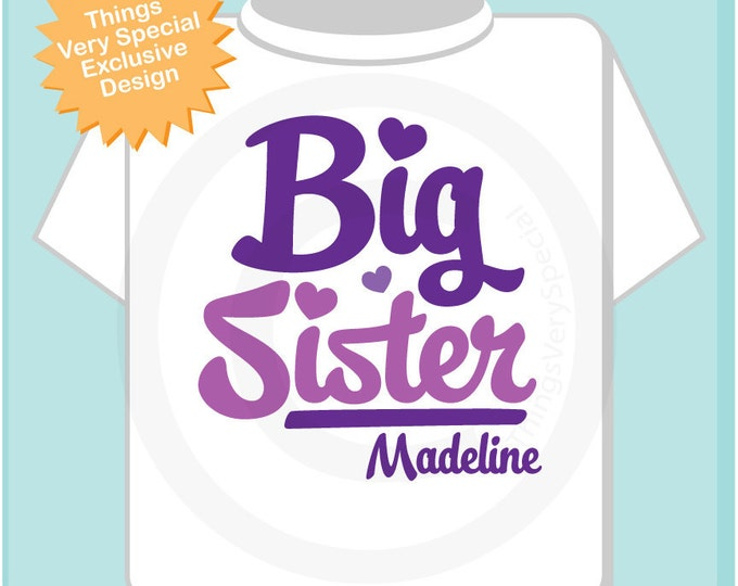 Big Sister Purple Script Shirt Personalized Infant, Toddler or Youth Tee Shirt or Onesie Pregnancy Announcement (02102012b)