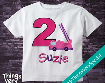 Second Birthday Fire Truck Shirt, Personalized 2 year old Fireman Shirt, 2nd Birthday Fire truck Shirt with childs name and age 02212019c