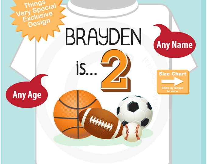 Sports Birthday Shirt - 2nd Birthday Sports Theme Shirt, Personalized Boys Second Birthday Shirt with Child's Name and age 07122018a