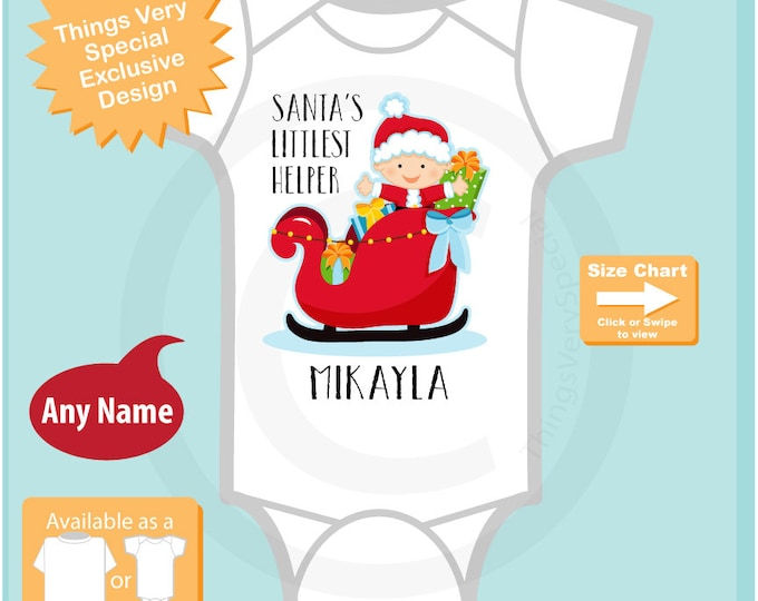 Baby Gift - Kids Christmas Outfit - baby's Santa's Helper - baby Christmas Gift - Baby clothing - Personalized Gift - Pajamas 11302015a