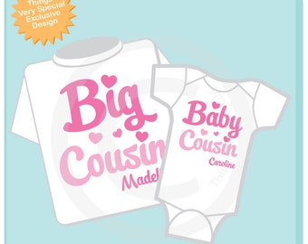 Set of 2 Personalized Big Cousin and Little Baby Cousin Shirt or Onesie Pregnancy Announcement (09102012a)