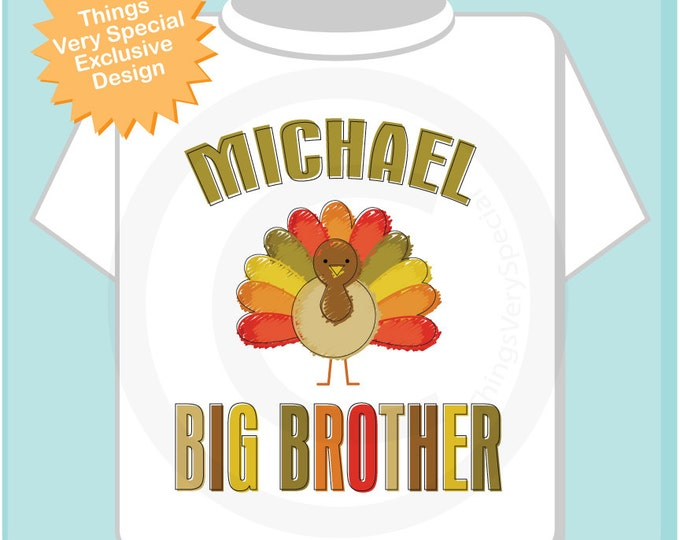 Turkey Big Brother Shirt - Big Brother Announcement Shirt - Big Brother Gift - Thanksgiving Big Brother - Boy's Clothing - Personalized Gift