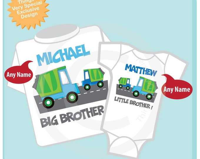 Personalized Set of 2 Big Brother and Little Brother Garbage Truck Tee Shirts or Onesies (03162012a)