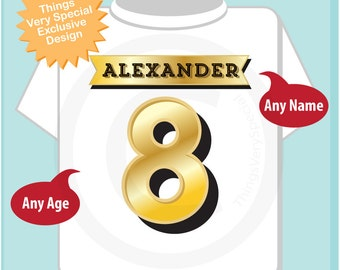 Eighth Birthday Shirt, Golden 8 Birthday t-Shirt, Any Age Personalized Boys Birthday Shirt Gold Color Age and Name Tee (08062015i)
