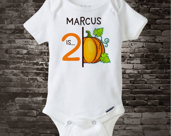 2nd Pumpkin Birthday Onesie or Shirt, Personalized Halloween Pumpkin Birthday Shirt with Child's Name and age, Second Birthday 09262017e