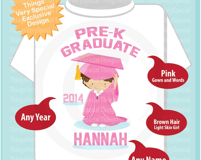 Pre K Shirt, Pre-K Graduate Shirt, Personalized for your little girl with year and name - Last Day of School Shirt - 05172019e