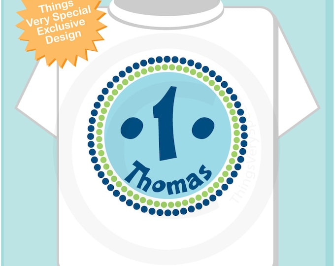 Birthday Shirt, One Year Old Birthday, Blue Birthday Shirt, Personalized Birthday Boy Circle Design Tee or Onesie Green and Blue (12302013b)