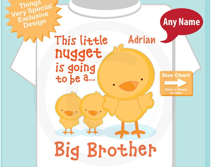 Boy's This Little Nugget is Going to be a Big Brother Shirt or Onesie showing twin babies, Chicken Nugget Shirt (08062014d)