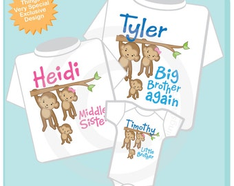Set of Three, Sibling Monkey Shirt and Onesie Set, Big Brother Again Shirt, Middle Sister, and Little Brother,  Personalized (12052013a)