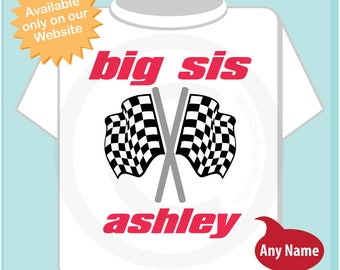 Checkered Flag Shirt or Onesie, Personalized Big Sister Shirt, Racing Fan Shirt, Checkered Flag Shirt, Kids Tee with Name (06032014h)