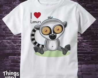 I love Lemurs tee shirt or Onesie bodysuit short or long sleeve 12272018b