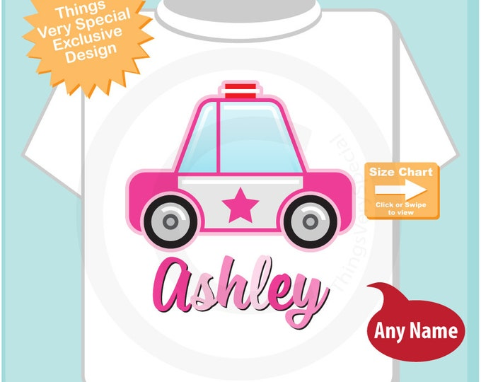 Girl's Police Shirt, Personalized Police Car Shirt, Policeman Shirt or Onesie with childs name (04022015e)