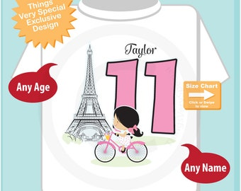 Eleventh Paris Birthday Shirt, Pink 11 Birthday Shirt, Personalized Girls Birthday Shirt Pink Age and Name Tee for kids (03292017a)
