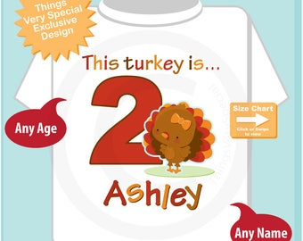 Girl's Thanksgiving Personalized Second Birthday Turkey Tee Shirt or Onesie, 2nd Birthday Thanksgiving Theme Tee Shirt, Any Age 11152017a