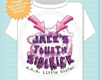 Trusty Sidekick shirt - Sidekick Shirt - Little Sister T-Shirt, Girl's Superhero Trusty Sidekick Shirt or Onesie 03222019d
