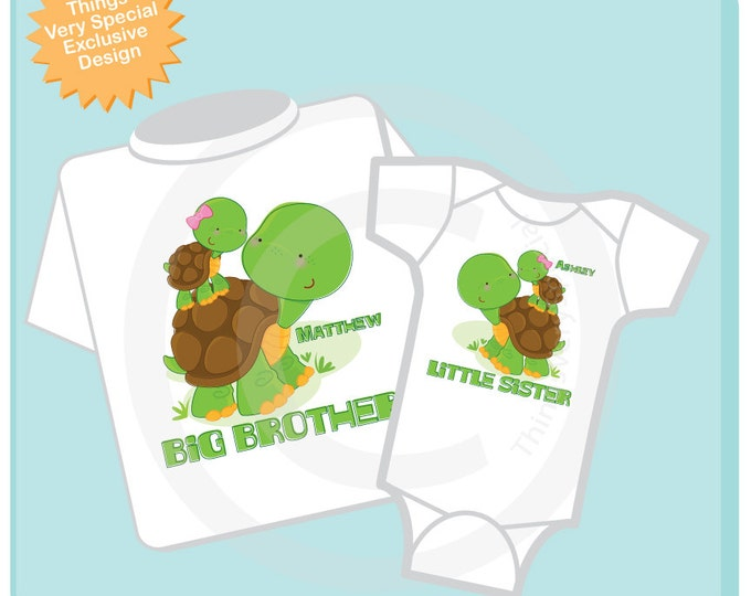 Matching Big Brother Little Sister Outfit tops, Matching Sibling outfit shirts, Turtle t-shirt and Onesie short or long sleeve 09062012a