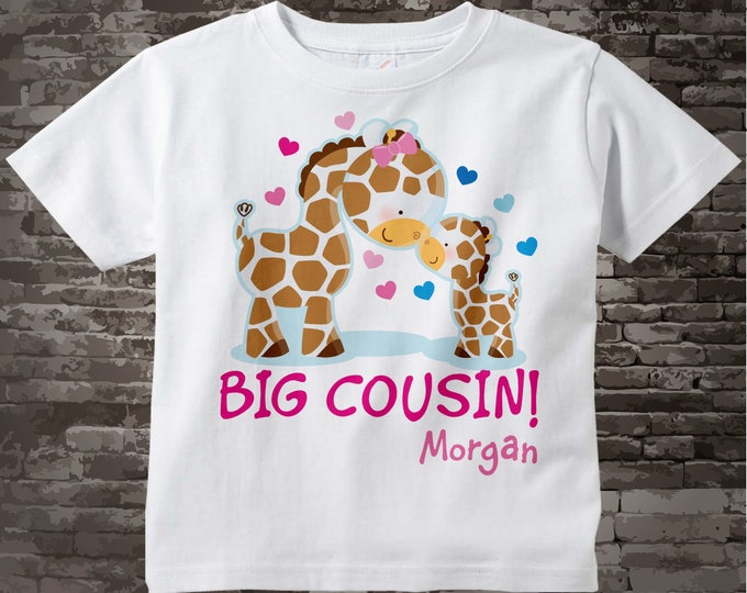 Big Cousin Shirt, Big Cousin Onesie, Personalized Big Cousin Shirt, Giraffe Shirt with Little Boy Baby 07062012a