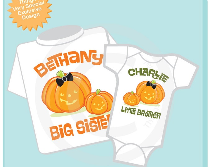 Set of Two Personalized Big Sister and Little Brother Cute Pumpkin Halloween Shirt and Onesie set.