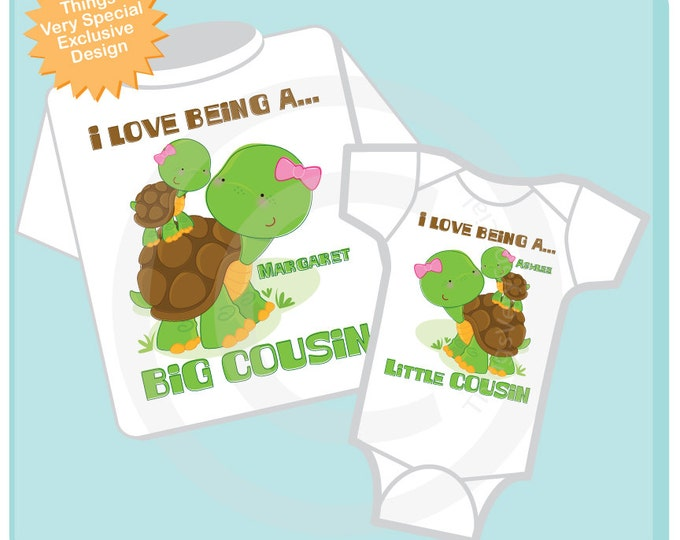 Set of Two, I love Being a Big Cousin and I Love Being a Little Cousin Turtle Girls Set of one tee and one onesie 04082013a