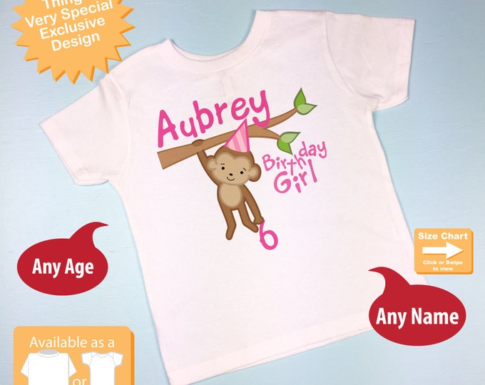 Birthday Girl Shirt, Monkey Shirt, Girl Birthday Shirt, Personalized Birthday Girl Monkey Tee or Onesie any Age 10082016a