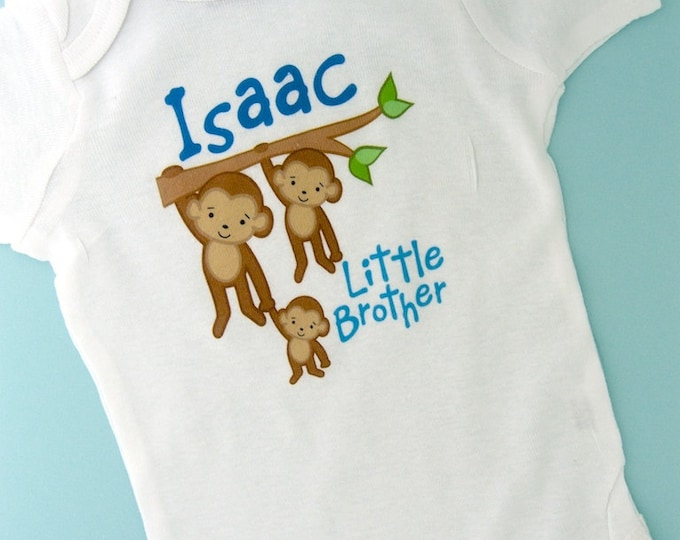 Little Brother Shirt, Monkey Shirt, Little Brother Monkey, Personalized Little Brother with Two Big Brothers Monkey Tee Shirt or Onesie