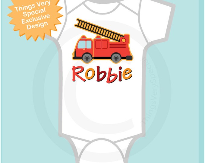 Boy's Personalized Fire Truck Onesie, Fireman Onesie or Tshirt with childs name 10282010a1