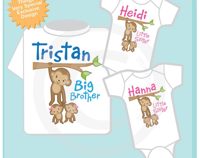 Sibling Monkey Shirt Set, Set of Three, Big Brother Shirt, Big Brother, and Twin Baby Sisters,  Personalized Shirt or Onesie (07072015g)