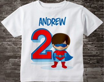 Boy's Personalized Superhero 2nd Birthday Tshirt - Birthday Boy Shirt - Superhero birthday party theme 08312016c