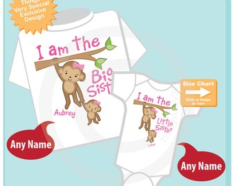 I am the Big Sister and I am the Little Sister Shirt set of 2, Sibling Shirt or Onesie Bodysuit, Personalized Cute Monkeys (05112015e)
