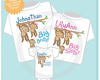 Sibling Monkey Shirt Set, Set of Three, Big Brother Shirt, Big Sister, Little Brother, Personalized Shirt or Onesie 05092018g