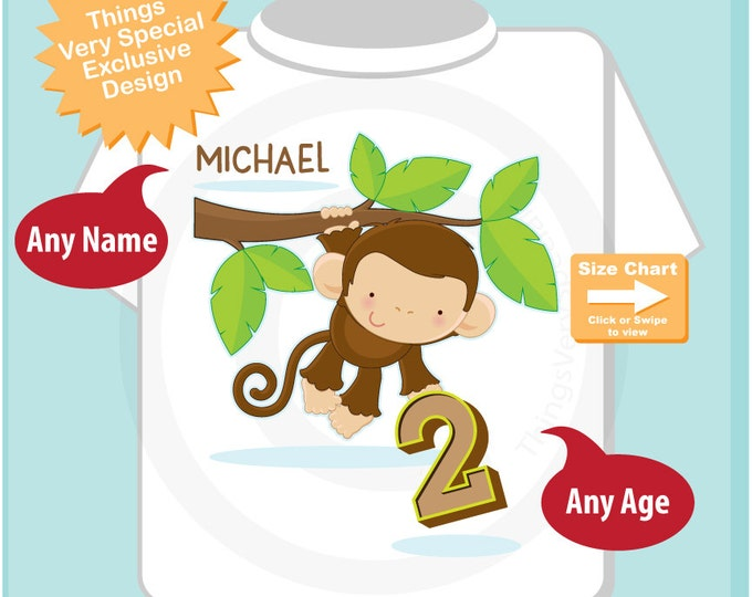 Birthday Boy Shirt - 2nd Birthday Tee Shirt or Onesie with Cute Monkey holding the number - Any Age - Birthday outfit top 02092016d