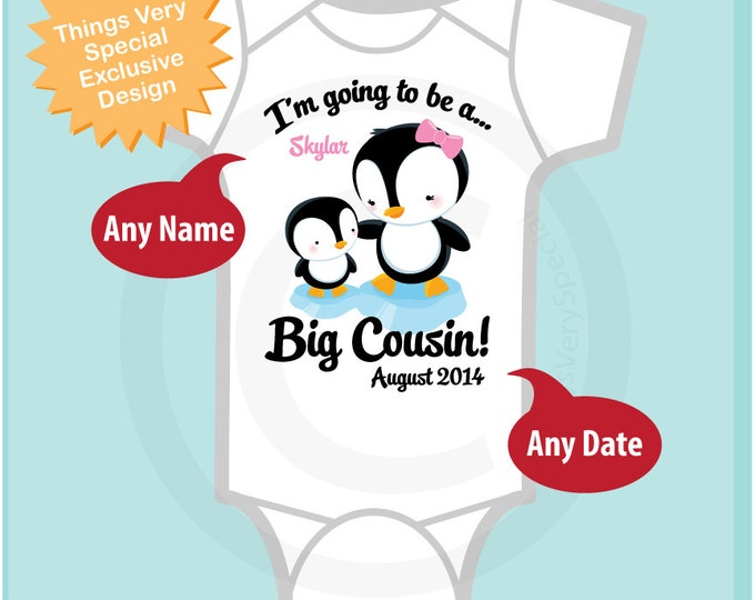 Penguin I'm Going to Be A Big Cousin Onesie, Big Cousin Tee Shirt Personalized Big Cousin Shirt, Penguin Shirt Unknown Sex Baby (03132014a)