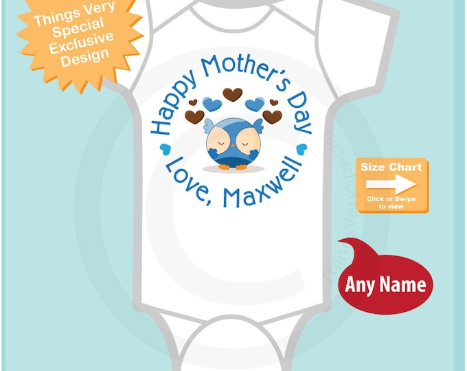 Happy Mother's Day Onesie,  Personalized Mothers Day Onesie or Tee shirt with cute Owl, New Mom Gift (05012015a)