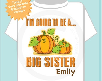 Big Sister Shirt Personalized Infant, Toddler or Youth Tee Shirt or Onesie Pregnancy Announcement
