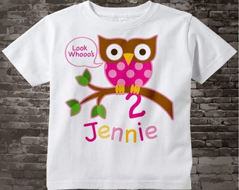 Owl Birthday Shirt or Onesie, Pink Girls Owl Birthday Shirt Personalized with Child's Name and age tshirt 02022014c